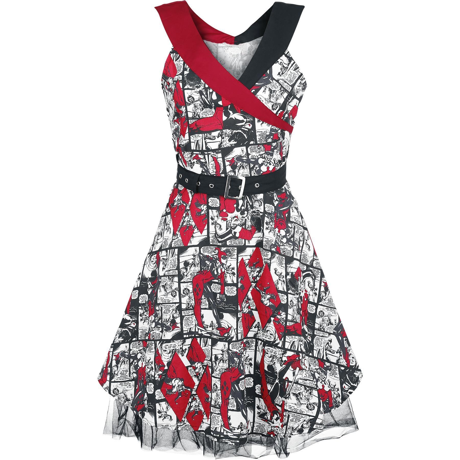 Šaty Harley Quinn - Comic Strip - Vícebarevné ramínka - Vypasovaný střih -  Dvě kapsy na bocích - Zip na boku - Tylová spodnička 9064728099b