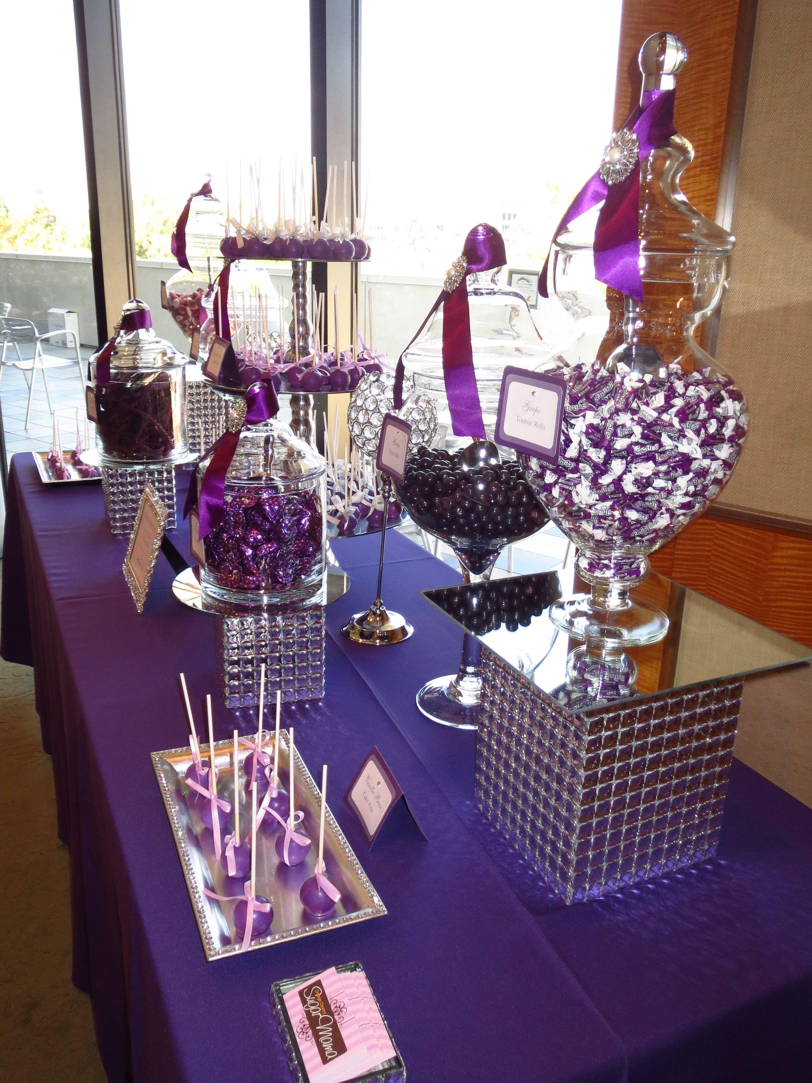 Pin By Oc Sugar Mama On Purple Candy Dessert Table Purple Candy Table Candy Table Decorations Wedding Candy