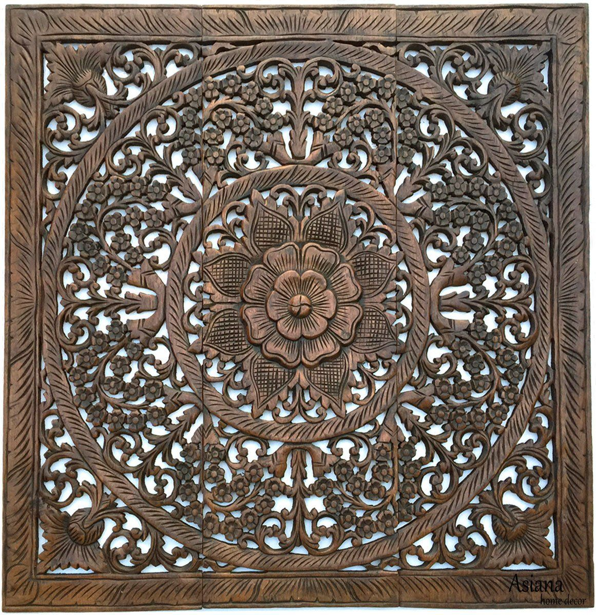 Elegant wood carved wall plaque wood carved floral wall art bali