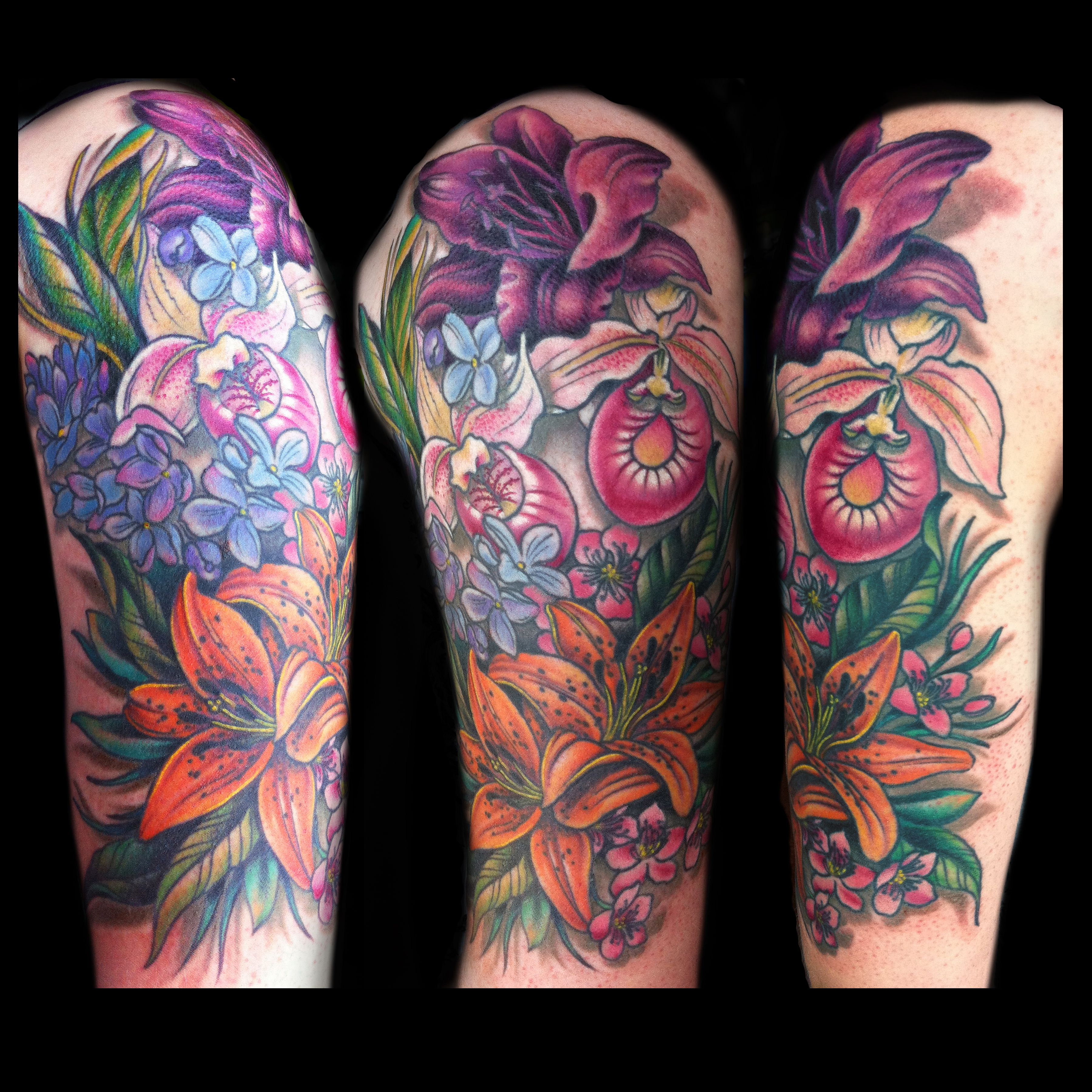 mixed flower, floral, half sleeve tattoo, done by Jessi D