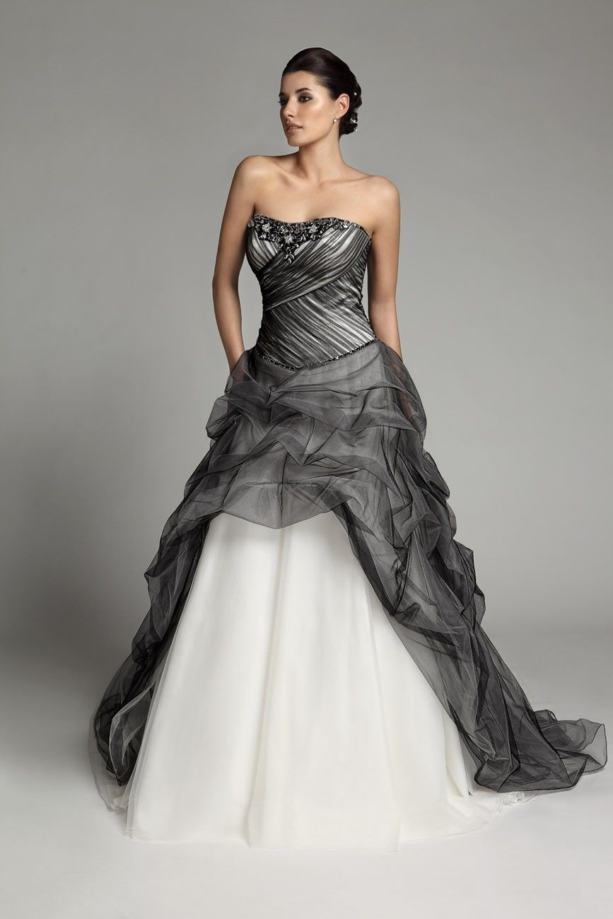 $312.98 Beaded Strapless Two Tone Wedding Dress With Catch Up Skirt  Wedding  Dresses DeniseDress