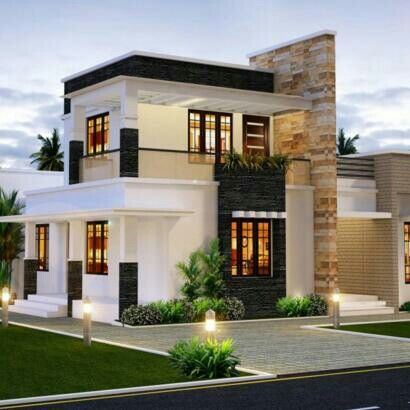 Pin By Joni Excellence On Dream Places Flat Roof House Modern House Plans Kerala House Design