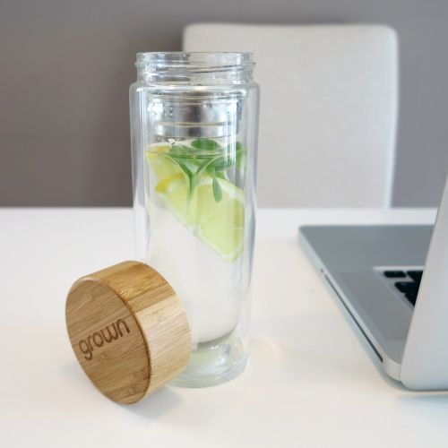 Grown - infuser water bottle with home Grown cress