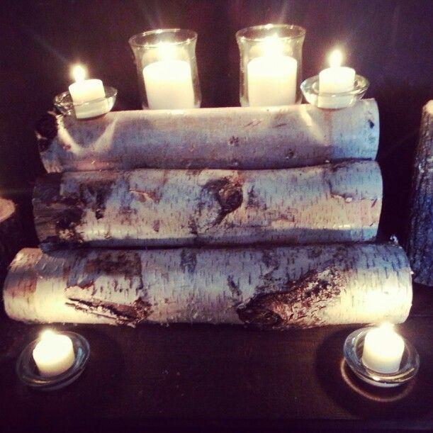 Vermont white birch log candle holder for my fireplace.