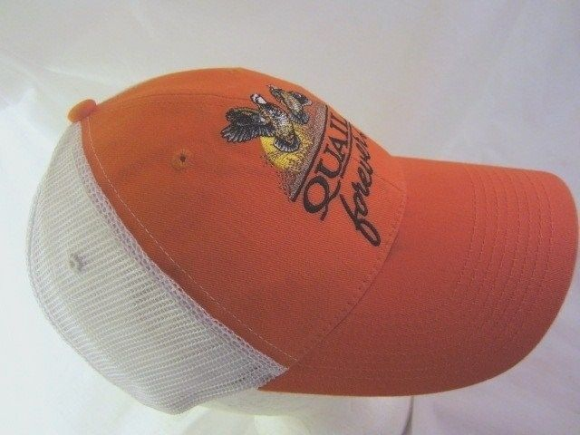 46a9a6c2f87 Quail Forever Hat Embroidered Logo Orange Hunting Ball Cap Adult Mesh  Trucker  quailhunters