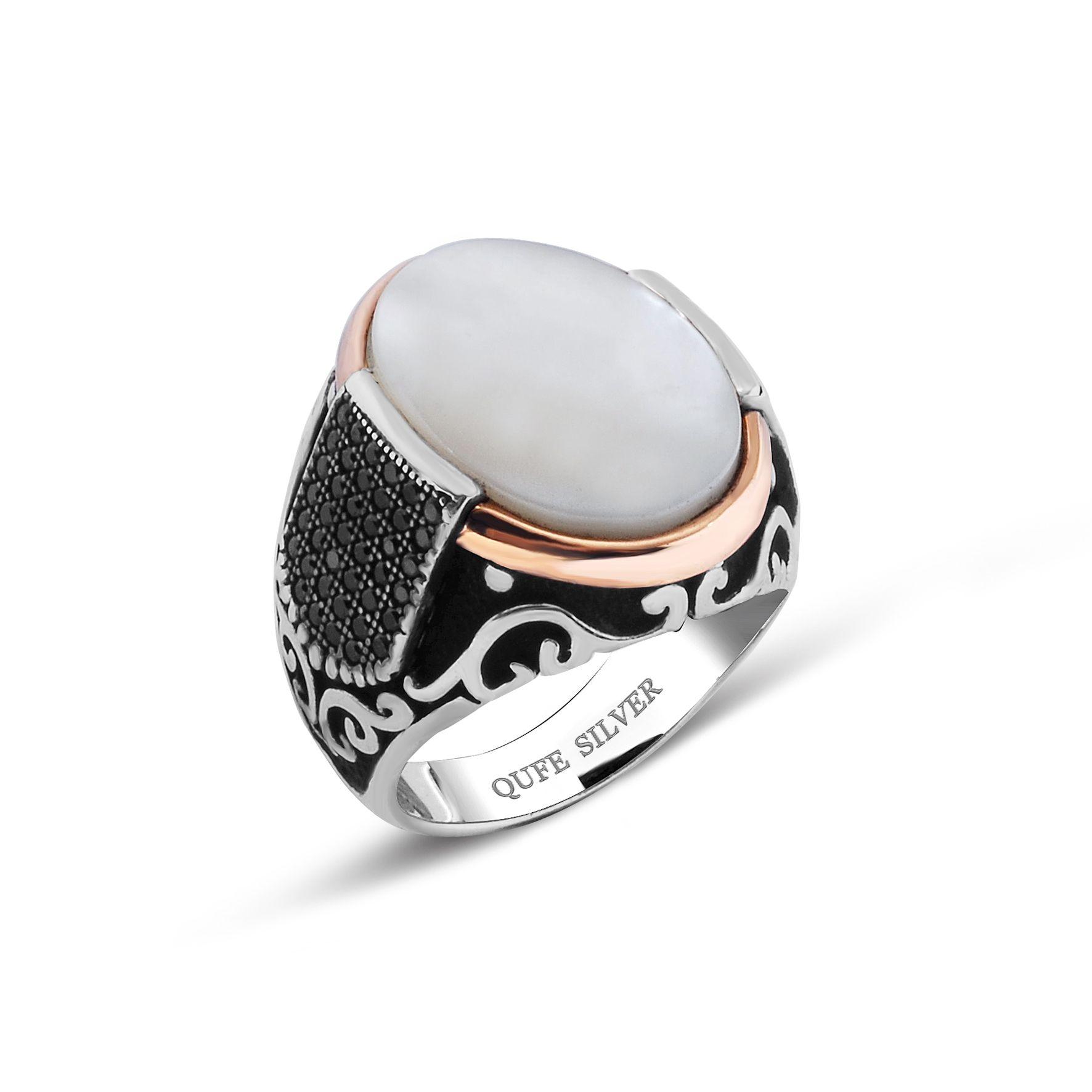 Mother of pearl and black zirkon stones 925k sterling