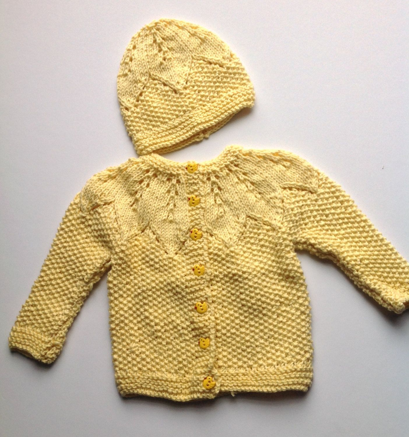 Knit yellow cardigan ,cotton baby cardigan, newborn cardigan ...