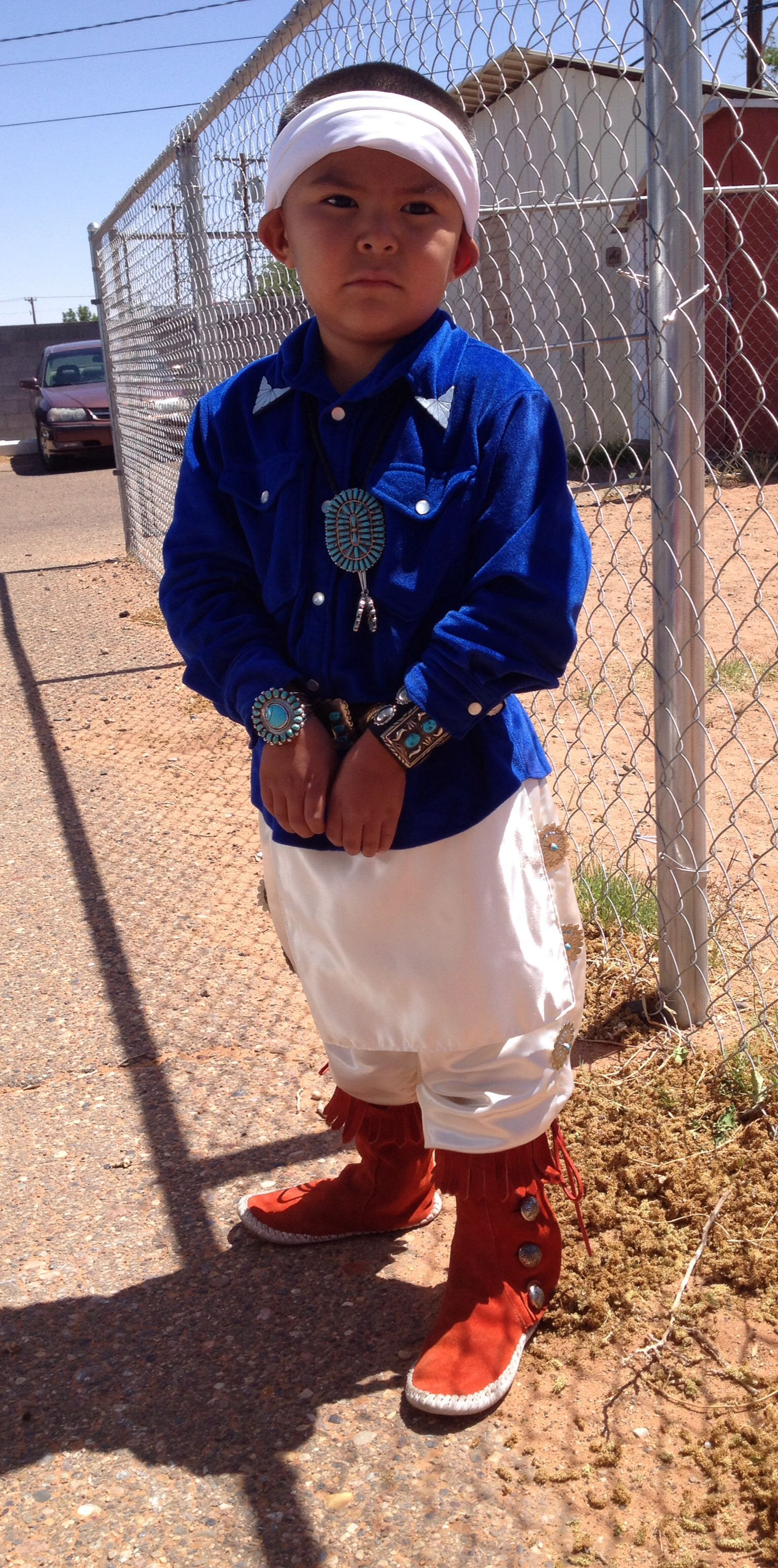 My son dress up the navajo tradition way beautiful people