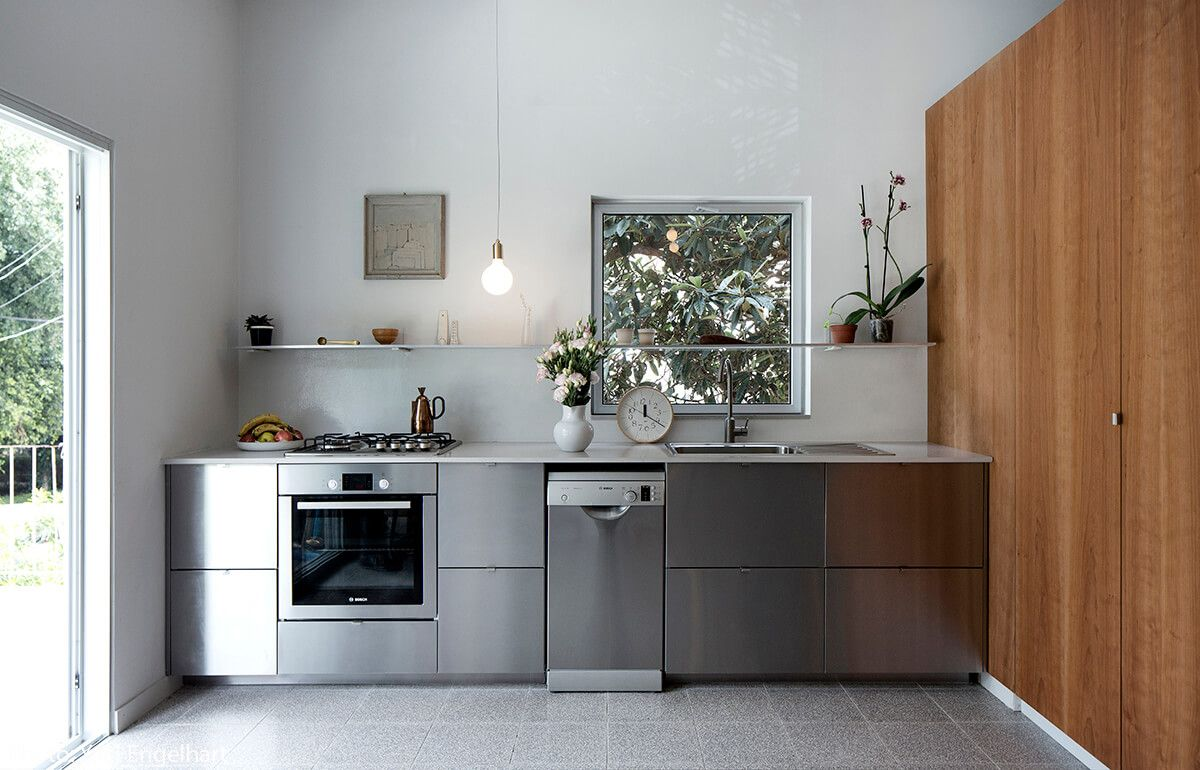 75sqm Apartment Tel Aviv Fineshmaker Stainless Steel Kitchen Cabinets Steel Kitchen Cabinets Ikea Kitchen