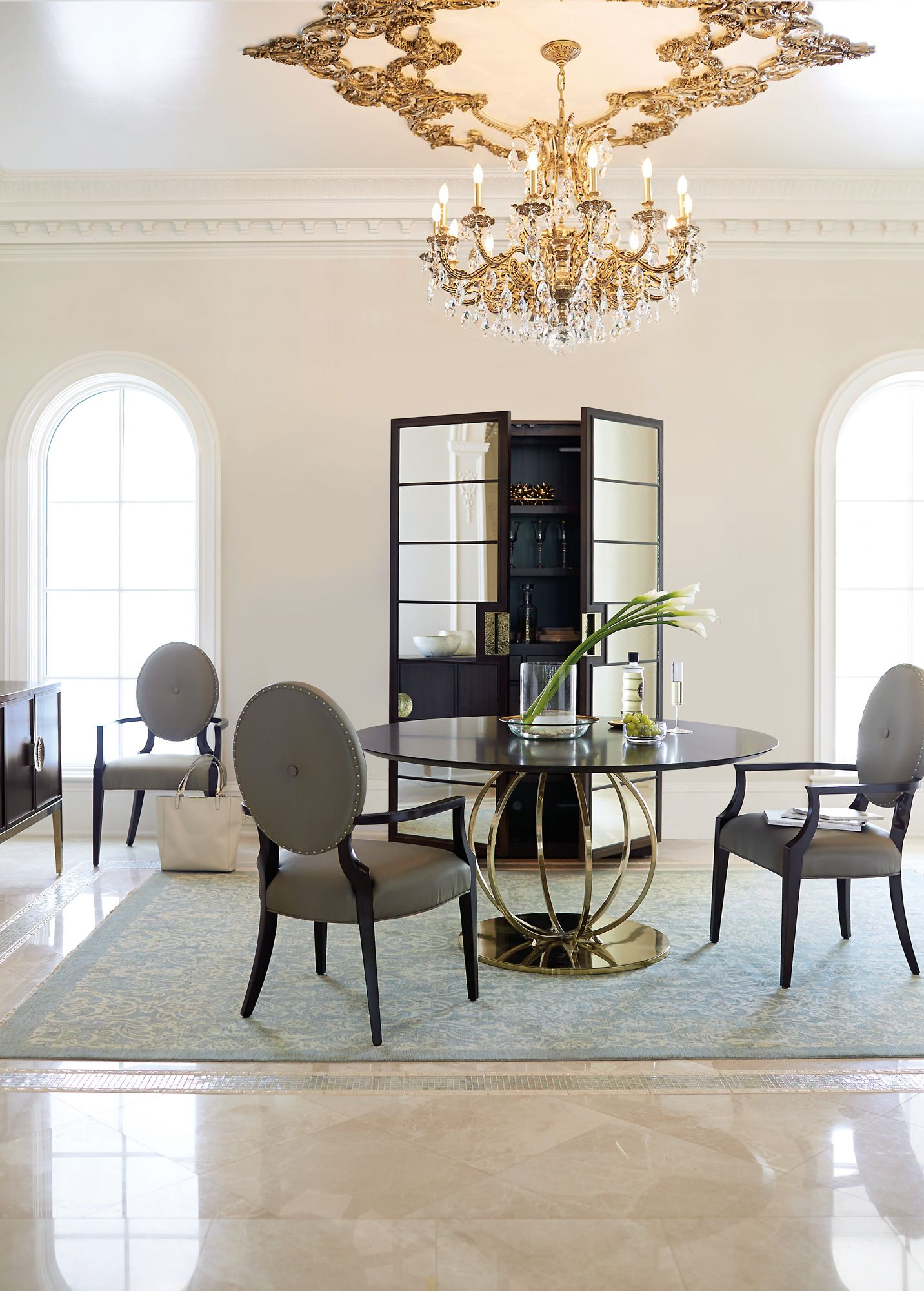 We Love This Dramatic But Refined Bernhardt Jet Set Round Dining Prepossessing Bernhardt Dining Room Set Design Ideas