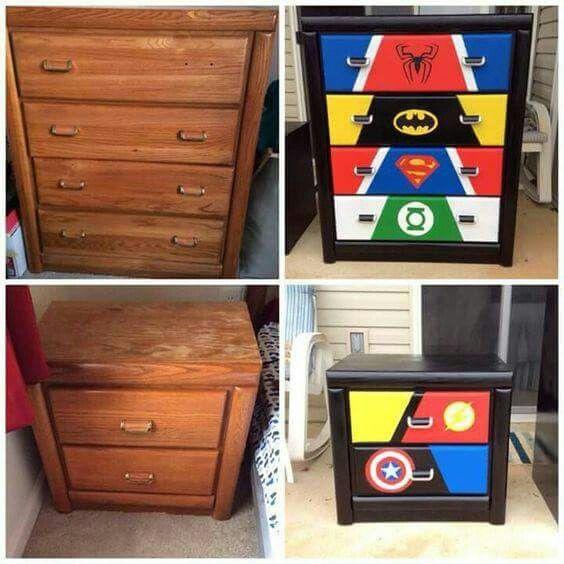 Boys Superhero Room Decor: Super Hero Dresser (chest Of Drawers) And Matching