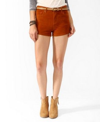 High-Waisted Corduroy Shorts   FOREVER21 - 2000047816