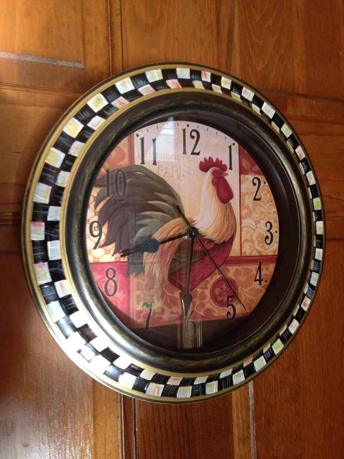 Hand Painted Checked Rooster Wall Clock. $49.00, via Etsy.