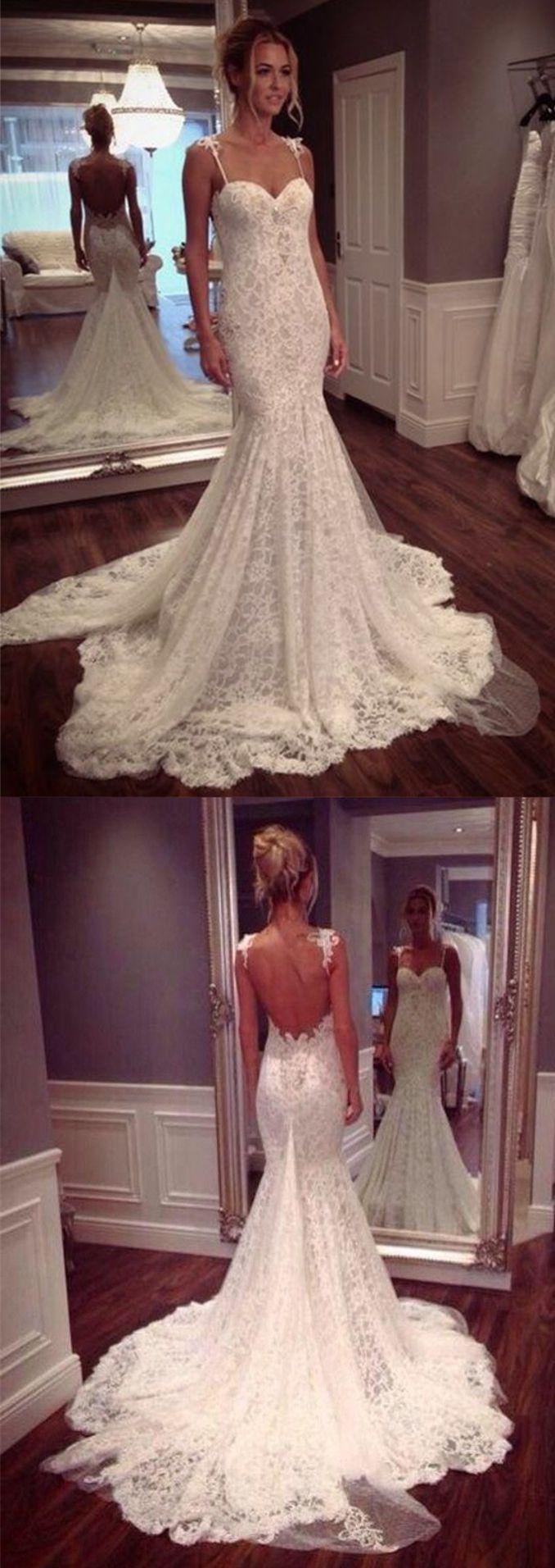 Elegant Spaghetti Straps Wedding Dresses Chapel Train Lace Y Party Mermaid Bodycon Dress