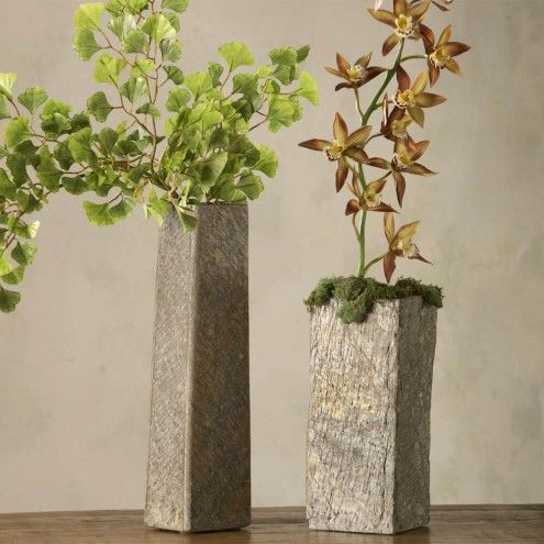 Slate Vases In Short Tall Sizes Vivaterra Slab Pottery Ideas