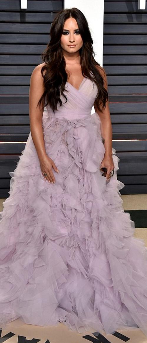 Demi Lovato in Dress – Monique Lhuillier Purse – Edie Parker Jewelry ...