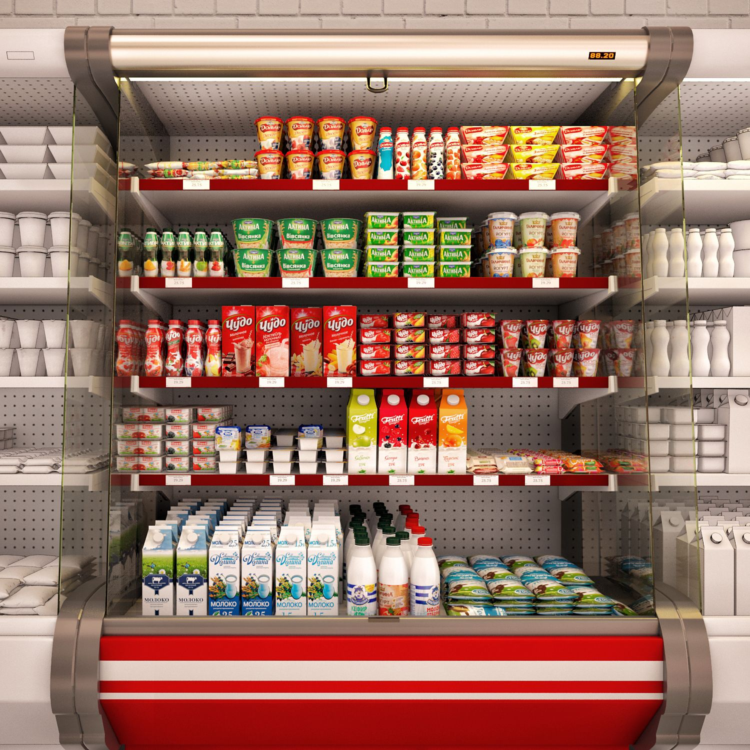 3d model Refrigerated showcase Fortune with milk