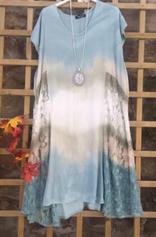 Womens Tie Dye Print Italian Fashion Laganlook Summer Silk Batwing Sleeves Top