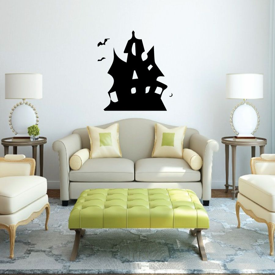 Haunted House Halloween Vinyl Decal Vinyl Decals Pinterest - Vinyl wall decals home party
