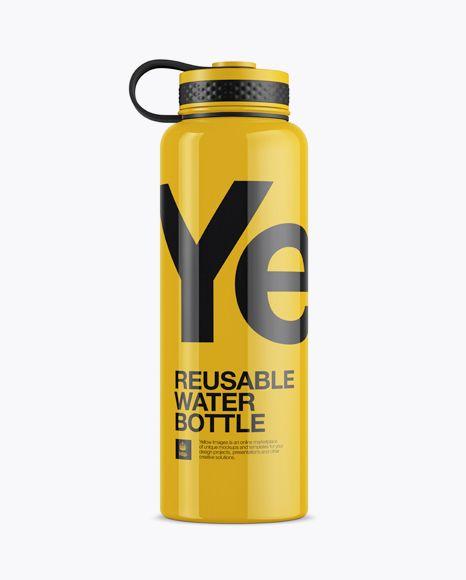 Glossy Plastic Reusable Water Bottle Mockup In Bottle Mockups On Yellow Images Object Mockups Bottle Mockup Mockup Free Psd Plastic Reusable Water Bottles