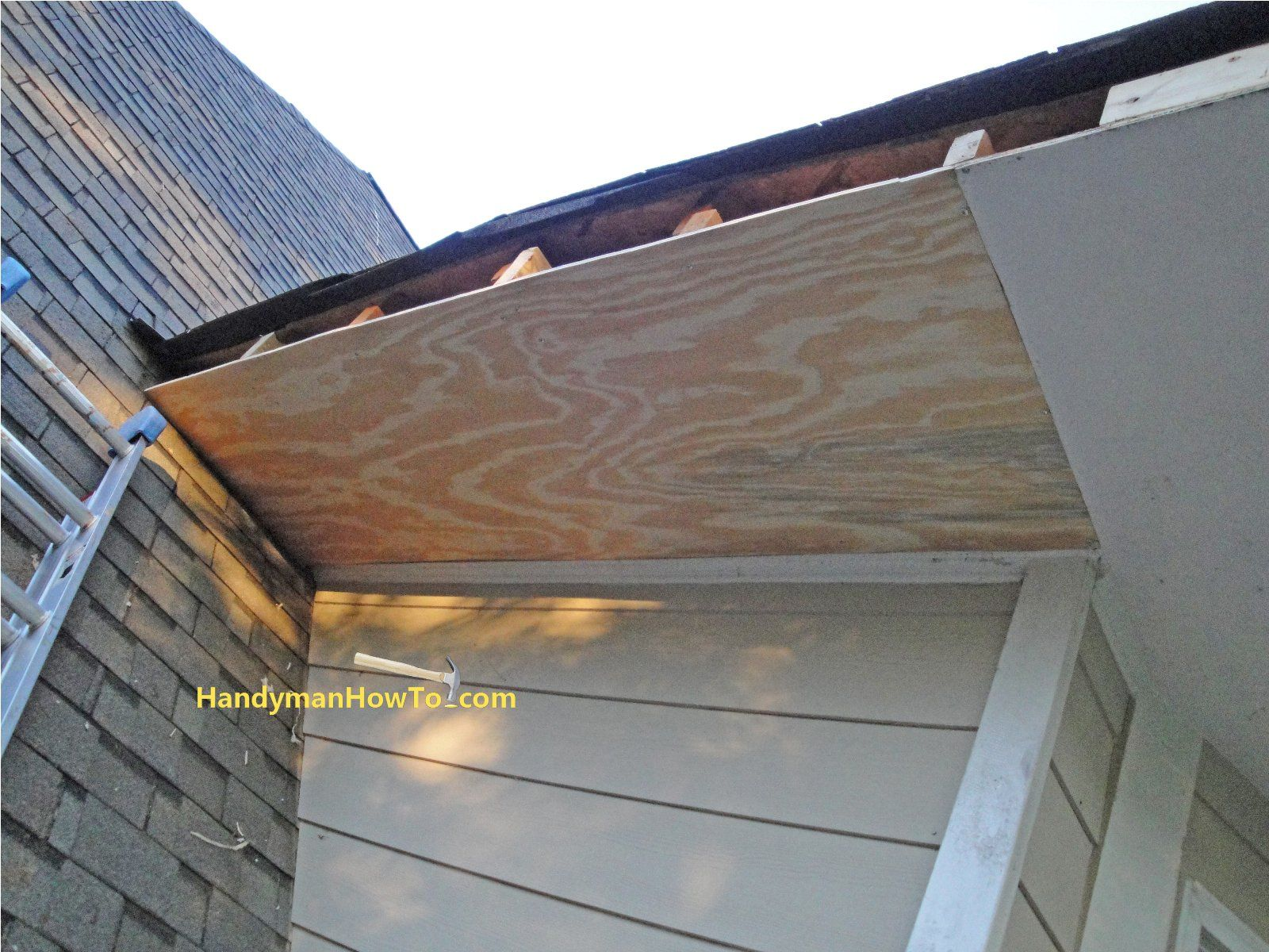 Replace Rotted Soffit New Section Of Plywood Soffit Installed Home Improvement Projects Home Improvement Diy Exterior