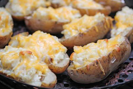 Twice Baked baked potatoes (bake in crockpot for 1 hour then grill 10-15 minutes)