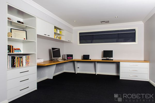 This Custom Home Office Furniture in Sydney was built for a customer who is a Graphic Designer who works from home. It features lots of deep bench space which can be used for drawing or layout work. The angled desk supports give a modern stylish twist on standard straight ones but more importantly are less interruptive to leg space. WE OFFER A FREE MEASURE AND QUOTE in the Sydney metropolitan area, call us on 02 9608 8899 today!