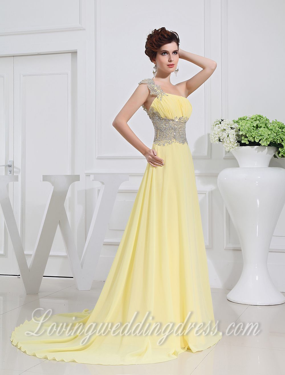 Lemon A-line One Shoulder Sequins Small Trailing Prom Dresses.For Christmas Day, The biggest price sale of the year up to 15%! Welcome to www.lovingweddingdress.com to learn more.