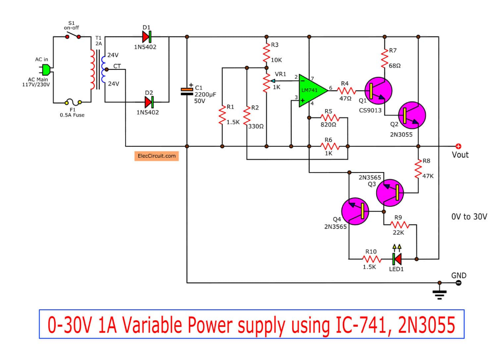 How 741 Op Amp Power Supply Circuit Works Eleccircuit Com Power Supply Circuit Power Supply Power