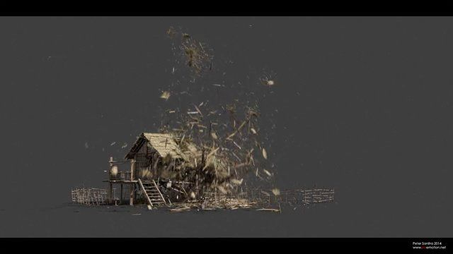 """Peter Sanitra's own thinkingParticles' demolition system developed over past few months in free time.  """"I`m using automatic joints system generation between different particle groups - like Planks to Poles, then Poles to Logs, Thatched roof to Plans etc. No prefraged geometry, all done on the fly with volumebreaker. ..."""""""