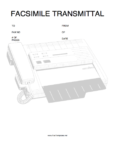 an illustration of a fax machine and the bold header facsimile