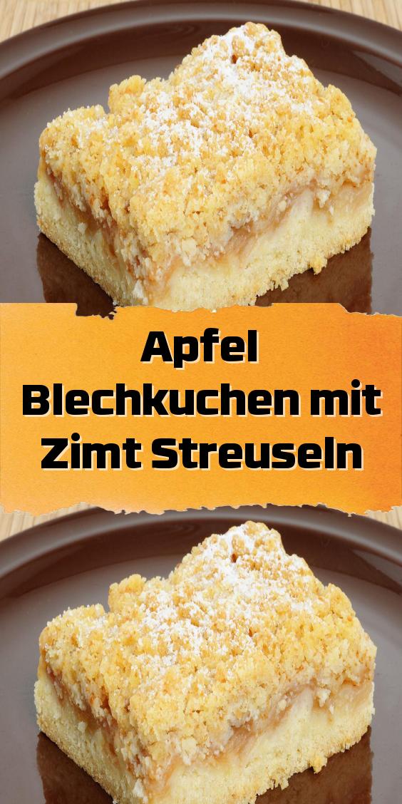 Apfel Blechkuchen mit Zimt Streuseln