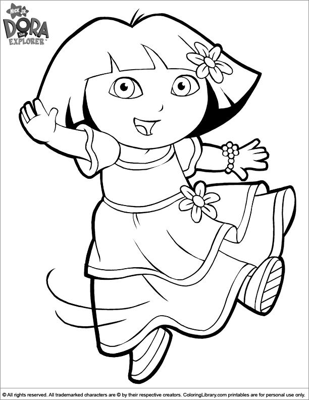 Dora The Explorer In A Pretty Princess Dress Coloring Sheet