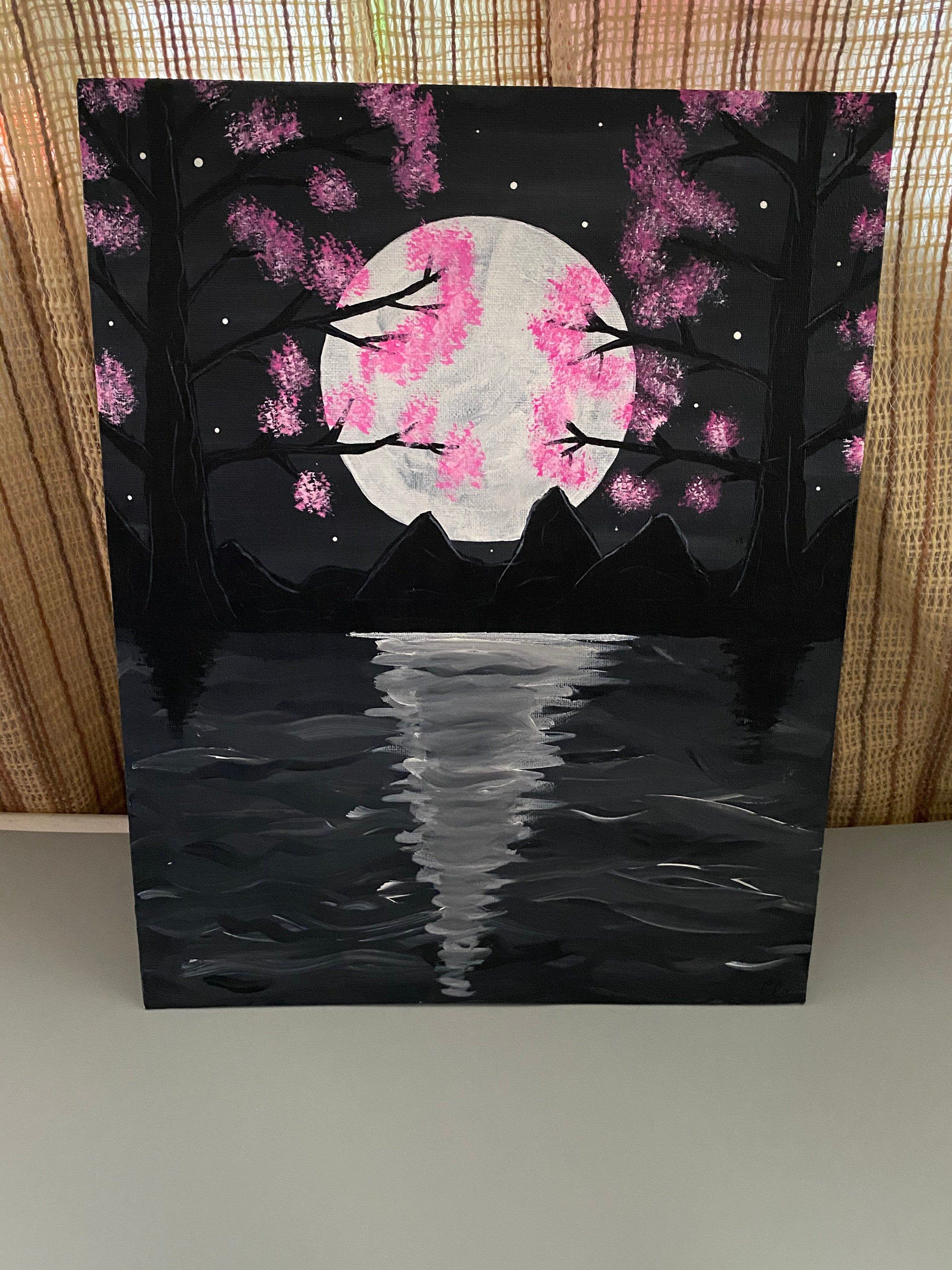 Excited To Share This Item From My Etsy Shop Cherry Blossom Tree Painting Pai Cherry Blossom Painting Cherry Blossom Painting Acrylic Black Canvas Paintings