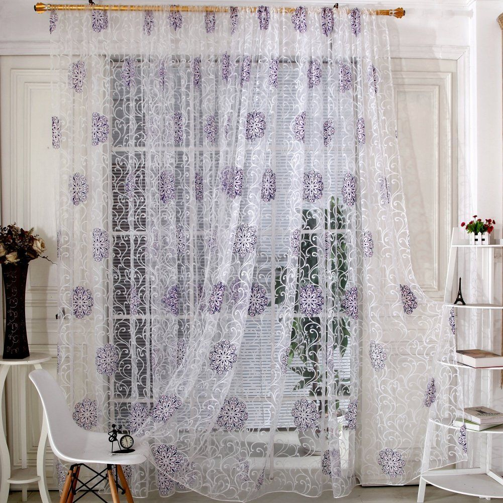 Kitchen window curtain  Amazon Edal Room Floral Tulle Window Screening Curtain Drape