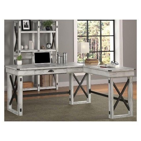 cheaper b4f1b 9f466 Hathaway L-Shaped Desk with Lift Top Rustic White - Room ...