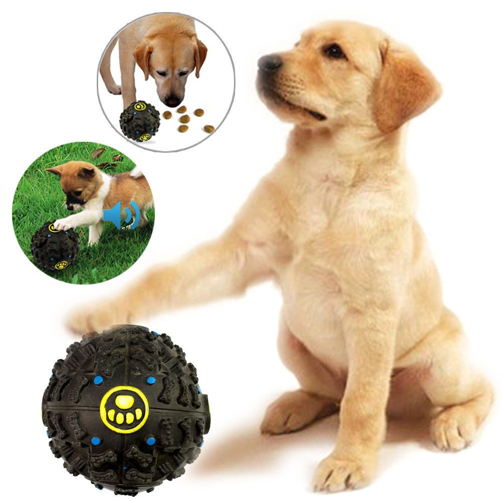 Pet Dog Chew Treat Food Holder Quack Sound Giggle Squeaky Play Training Ball Unbranded Dog Chews Dog Toys Dog Ball