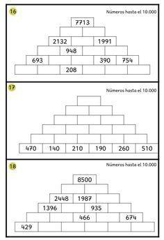 Pirámides numéricas hasta el 10000 | összeadás-kivonás 3.-4. osztály ...