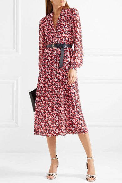 MICHAEL Michael Kors - Belted floral-print crepe midi dress