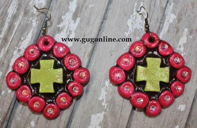 Lime and Pink Cruz Colorida Earrings $29.95 www.gugonline.com