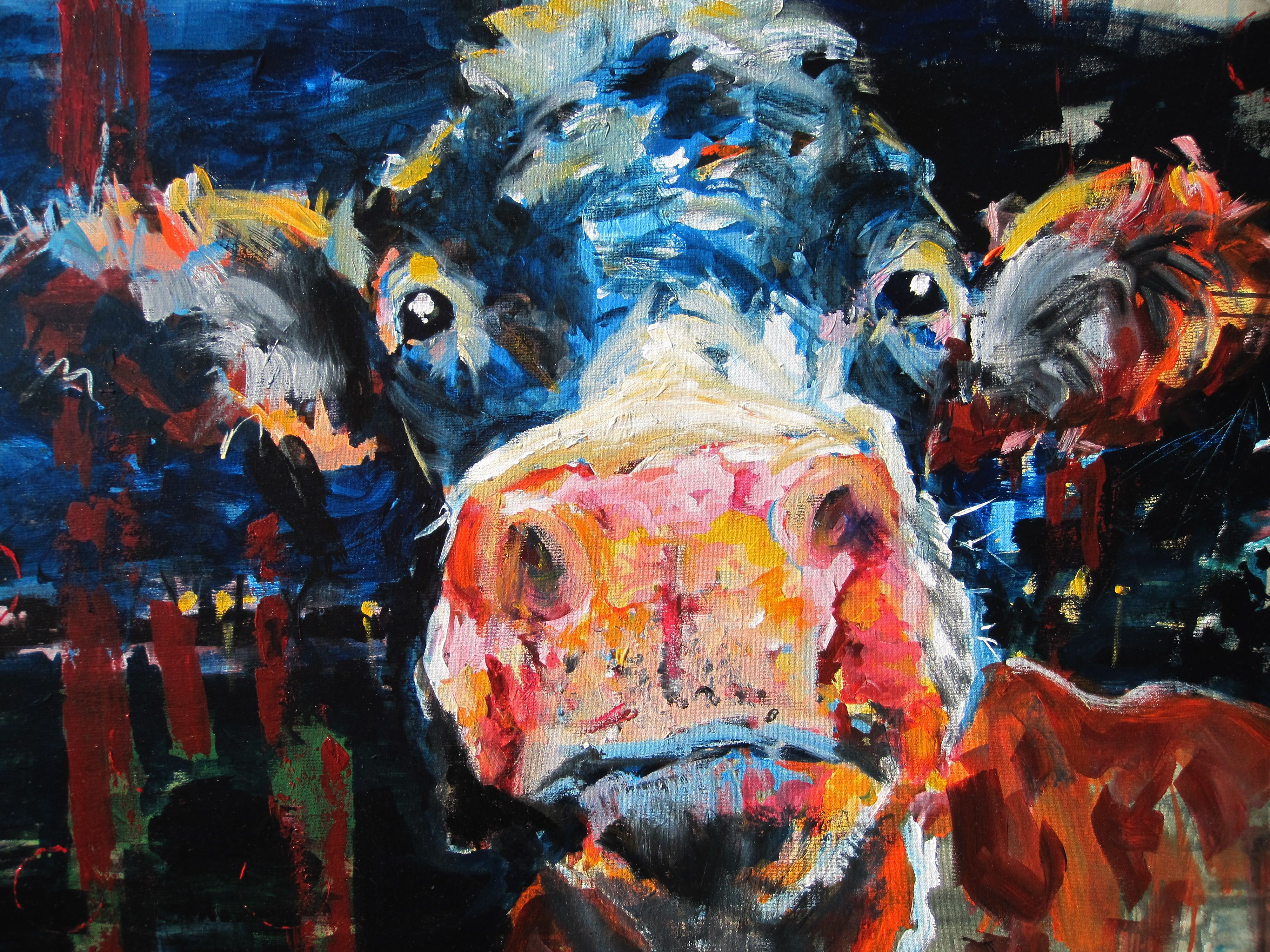 Cow by Heidi Nuyts 80 x 100 Acrylics on canvas