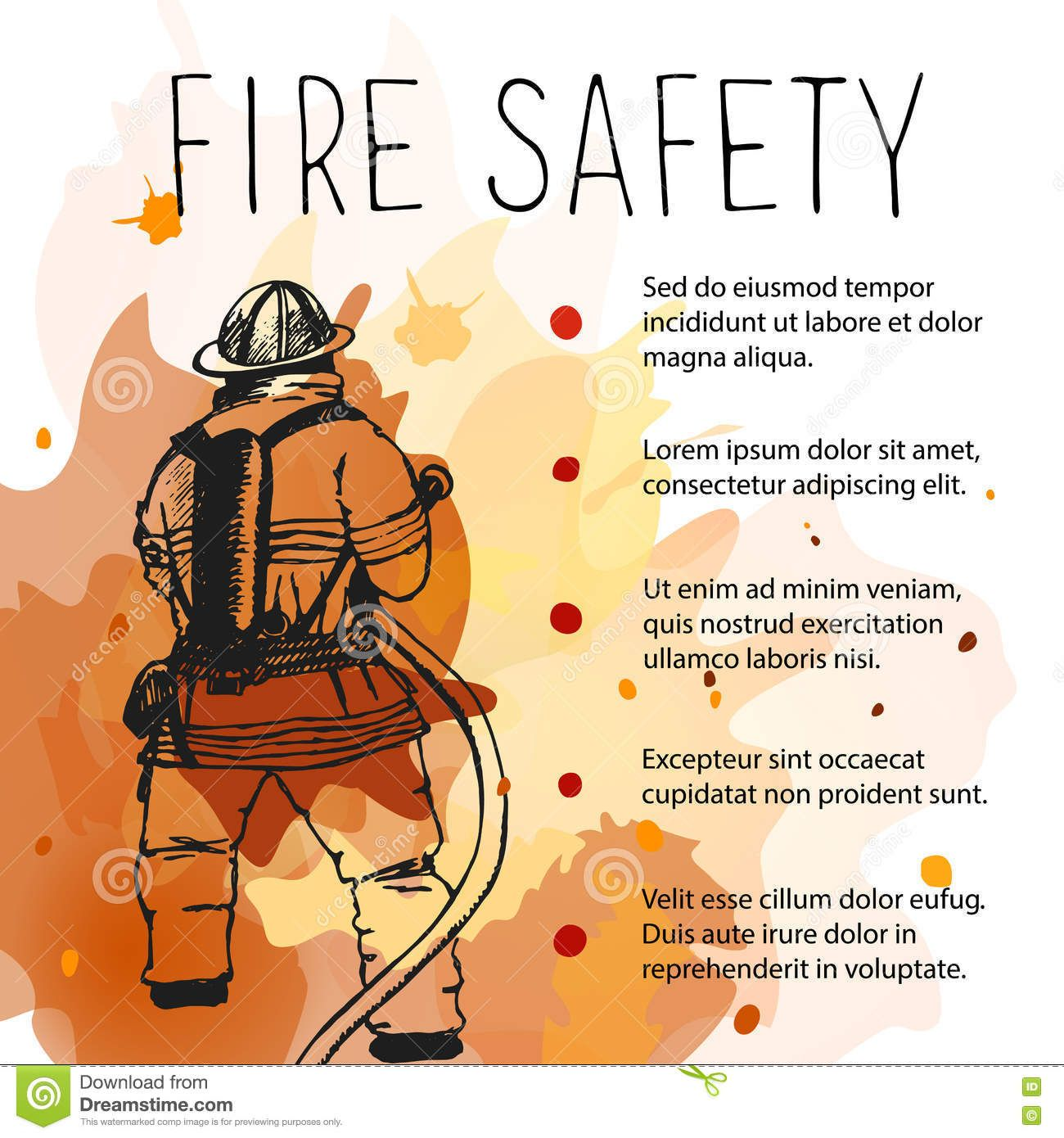 Illustration About Template Of Fire Safety Vector Placard Silhouette Of Firefighter On A Background Of Fire Illustration Of Dangerous Fire Safety Fire Safety