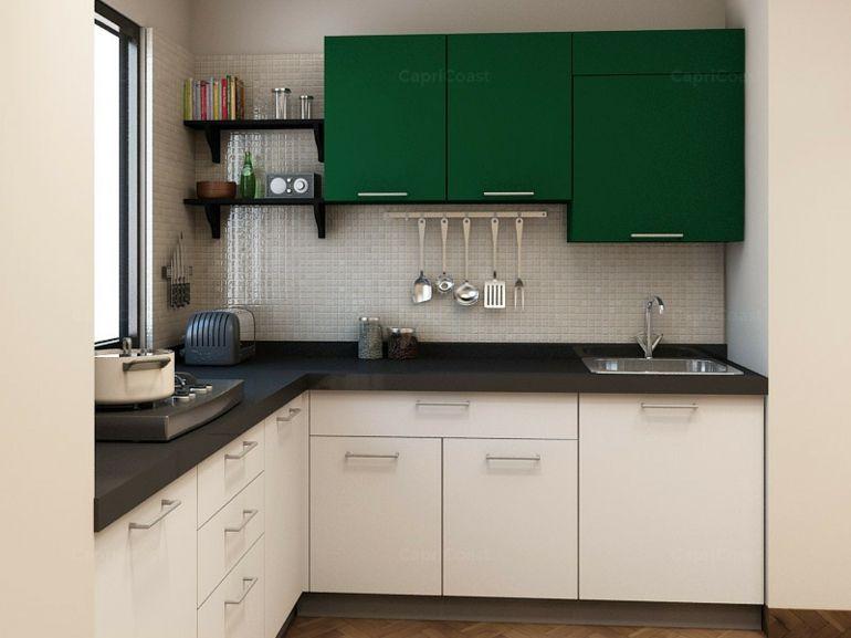cocinas pequeas en forma de l pequea muebles verdes - Cocinas En Ele