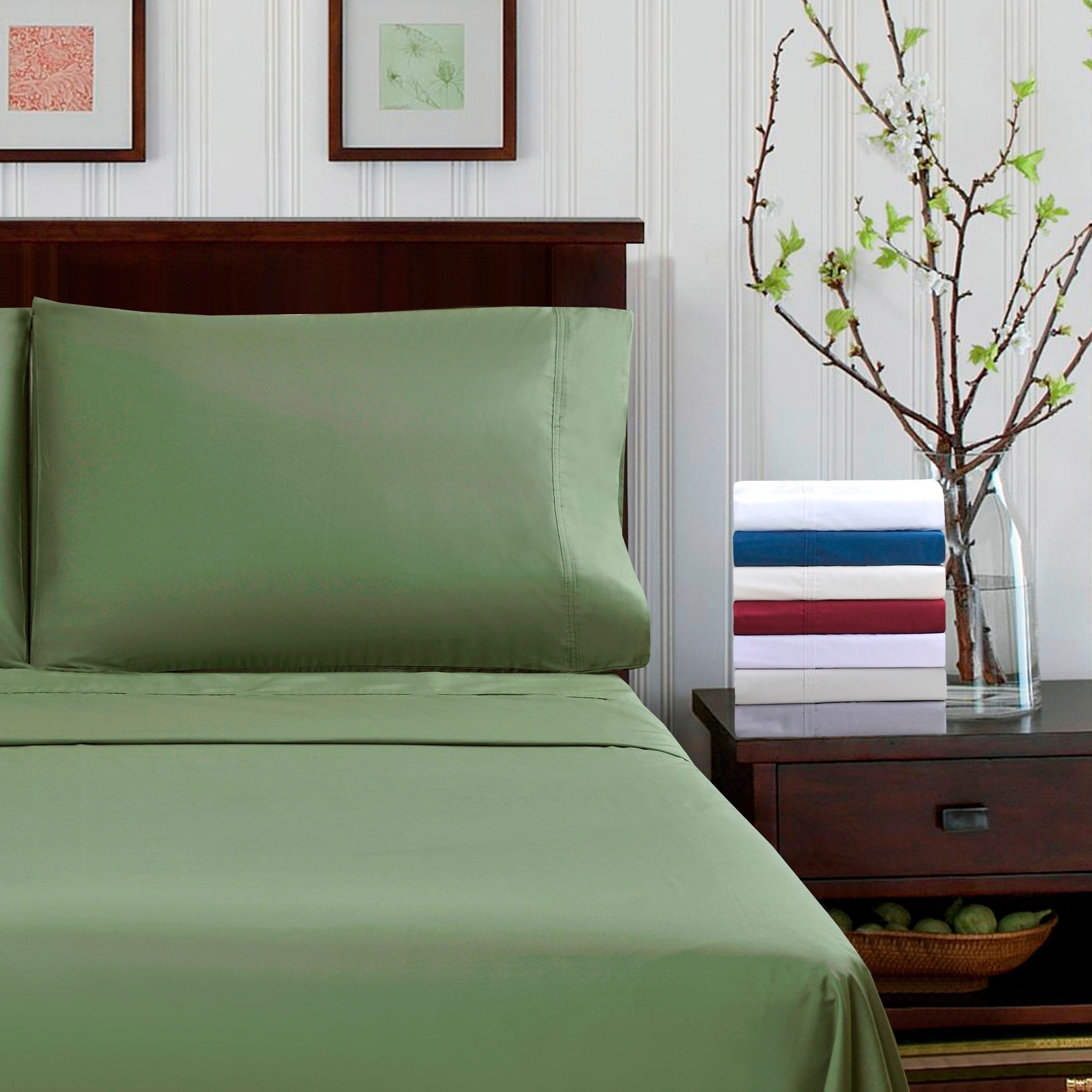 Superior thread count percale cotton solid king size sheet set