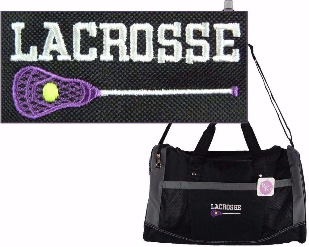 Lacrosse   Stick Flex Duffel Sport Bag + Team Name Monogram Custom  Embroidered  Gemline  DuffleGymBag 088756abd274a