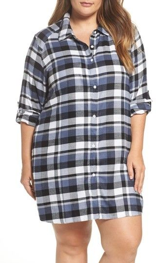 2e363a18b5219 DKNY Plus Size Women s Plaid Sleep Shirt