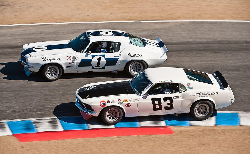1970 Camaro vs 1969 Boss 302 Mustang  Pony car Vintage racing