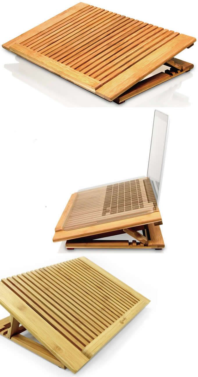 Adjustable Bamboo Laptop Cooling Fan Table Stand For Apple Macbook Laptops Wooden Laptop Stand Laptop Cooling Fan Laptop Stand