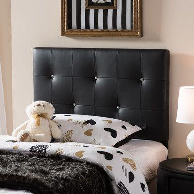 Latitude Run Mason Twin Panel Headboard Upholstery: Black   Products ...