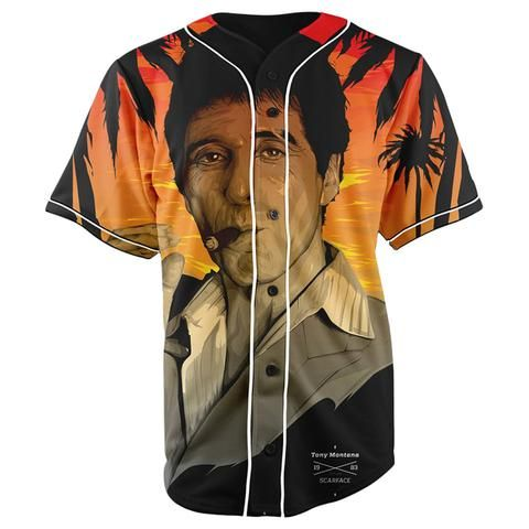 916e7c35c Scarface Tony Montana Orange Button Up Baseball Jersey - JAKKOUTTHEBXX -  JAKKOU††HEBXX
